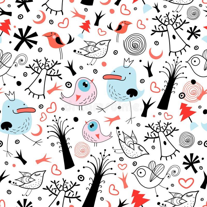 Textura às árvores e aos pássaros ilustração stock
