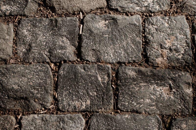 Textura áspera do pavimento velho do bloco molhado foto de stock