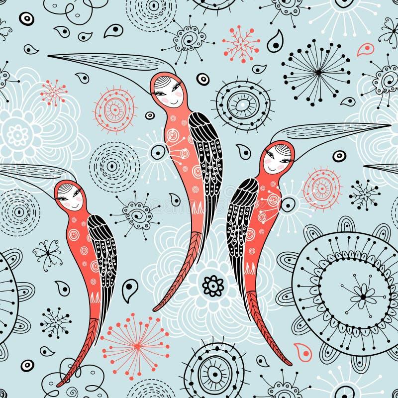 A textura é pássaros fabulosos da mulher ilustração do vetor