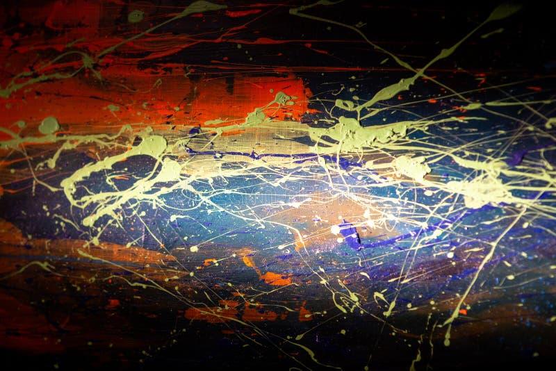Textura abstracta amarilla roja azul de la pintura de aceite en la lona, fondo imagenes de archivo