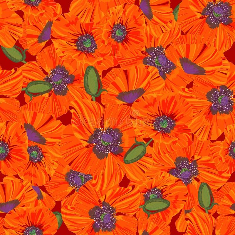 Textura abstracta con la amapola Modelo inconsútil con el ornamento festivo del ramo de la flor libre illustration