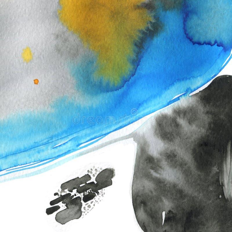 Textura abstracta de acuarela moderna con pinturas de tinta flotante Mezcla de colores gris, negro, azul y naranja Fresco y delic imágenes de archivo libres de regalías