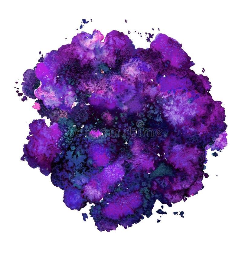 Textura abstracta de la acuarela, forma bi?nica, azul del color din?mico y p?rpura griegos Tama?o grande Para el fondo Aislado en libre illustration