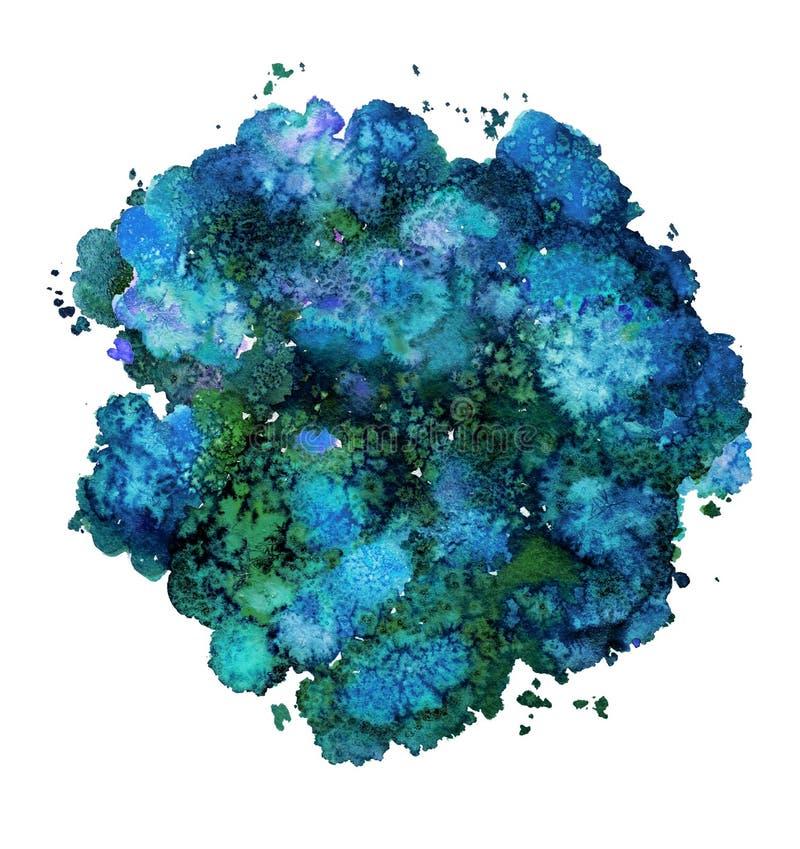 Textura abstracta de la acuarela, forma bi?nica, azul din?mico del color Tama?o grande Para el fondo Aislado en el fondo blanco ilustración del vector