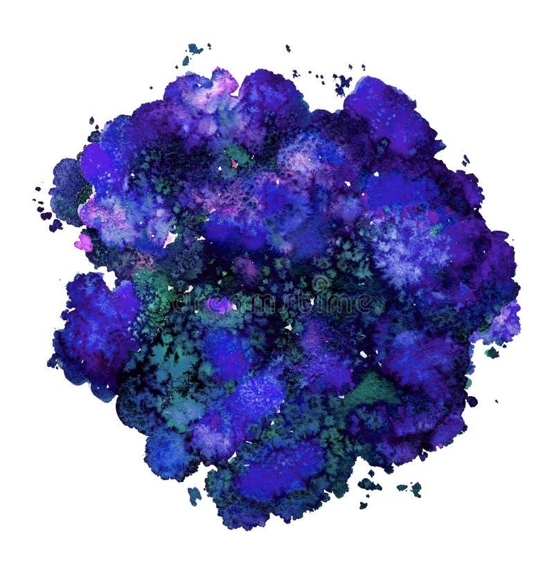 Textura abstracta de la acuarela, forma bi?nica, azul din?mico del color Tama?o grande Para el fondo Aislado en el fondo blanco stock de ilustración