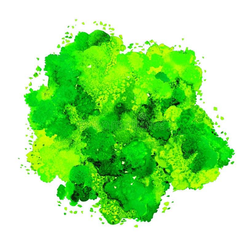 Textura abstracta de la acuarela, forma bi?nica, color din?mico amarillo y verde Tama?o grande Para el fondo Aislado en blanco stock de ilustración