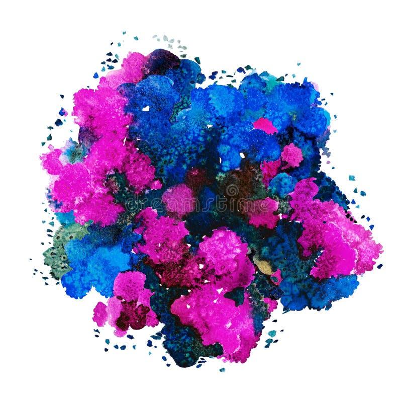 Textura abstracta de la acuarela, forma bi?nica, color din?mico azul, rojo, p?rpura y verde Tama?o grande Para el fondo aislado e libre illustration