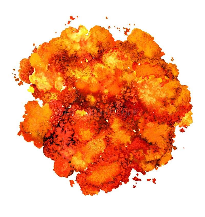 Textura abstracta de la acuarela, forma bi?nica, naranja din?mica del color Tama?o grande Para el fondo Aislado en el fondo blanc stock de ilustración