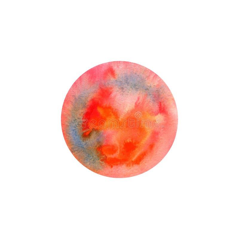 Textura abstracta del círculo de la pintura de la mano de la acuarela, aislada en el fondo blanco stock de ilustración