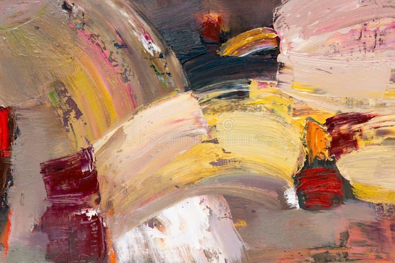 Textura abstracta del color de la pintura Fondo artístico brillante en colores rojos y amarillos stock de ilustración