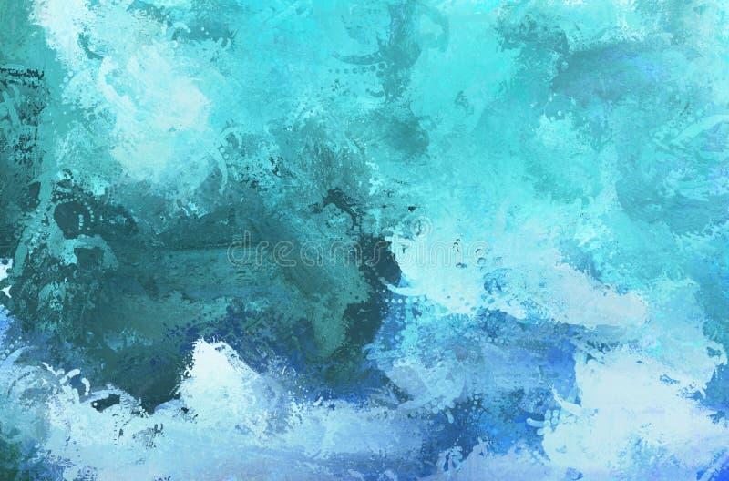 Textura abstracta del color de la pintura Lona colorida Aguas azules foto de archivo libre de regalías