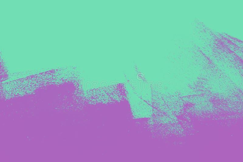 Textura abstracta del fondo de la pintura ultravioleta y verde con los movimientos del cepillo del grunge stock de ilustración