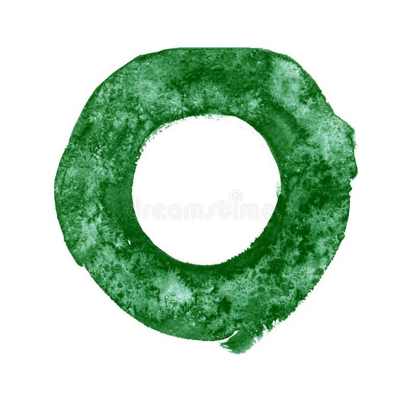 Textura abstracta del verde de la pintura de la mano de la acuarela, aislada en el fondo blanco ilustración del vector
