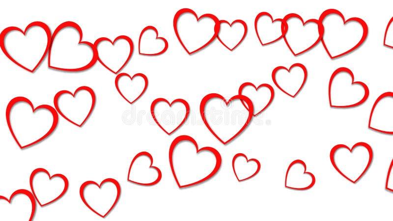 Textura abstracta hermosa de corazones rojos con las sombras para el día de tarjeta del día de San Valentín feliz en un fondo bla stock de ilustración
