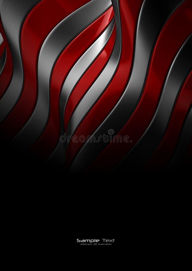 Textura abstracta roja y de plata del metal ilustración del vector