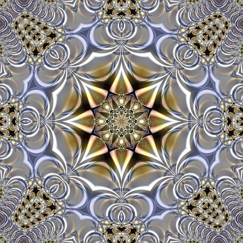 Textura abstracta translúcida que consiste en una estrella en el centro de la composición y de un ornamento circular que se aseme stock de ilustración