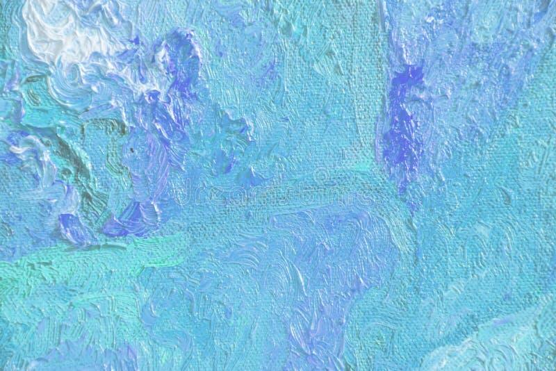 Textura abstrata colorida da pintura a óleo, textura azul, Brushst fotografia de stock
