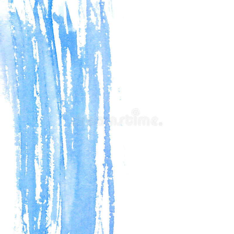 Textura abstrata da aquarela, cor azul pastel Cursos pintados da escova com copyspace no direito Fundo para o casamento ilustração do vetor