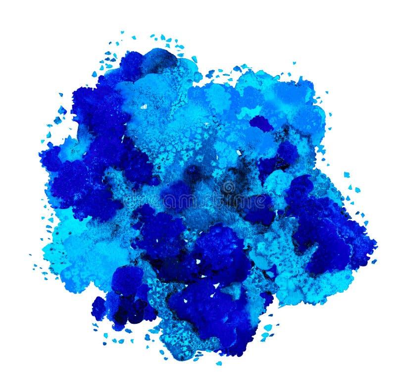 Textura abstrata da aquarela, formul?rio bi?nico, azul din?mico do grego da cor Tamanho grande Para o fundo Isolado no fundo bran ilustração stock