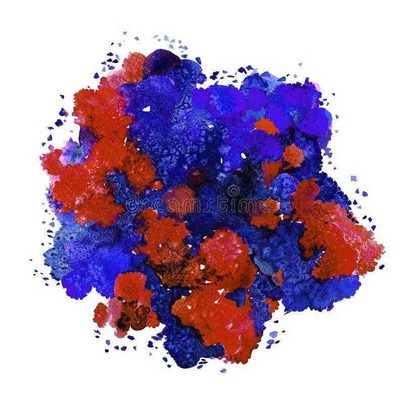 Textura abstrata da aquarela, formul?rio bi?nico, cor din?mica azul, vermelha, roxa e verde Tamanho grande Para o fundo isolado s ilustração stock