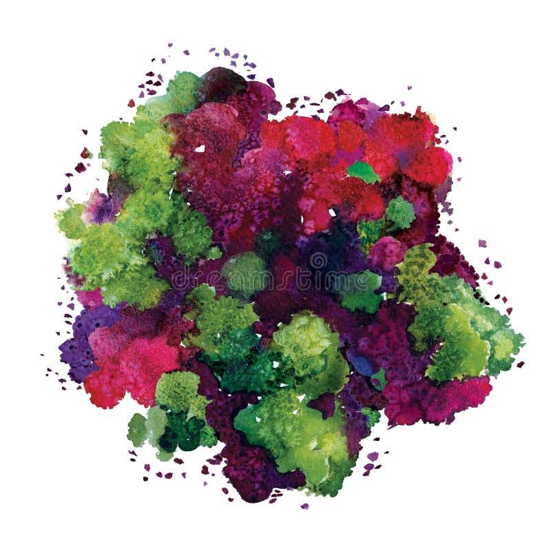 Textura abstrata da aquarela, formul?rio bi?nico, laranja din?mica da cor, vermelho, roxo e verde Tamanho grande Para o fundo iso ilustração royalty free