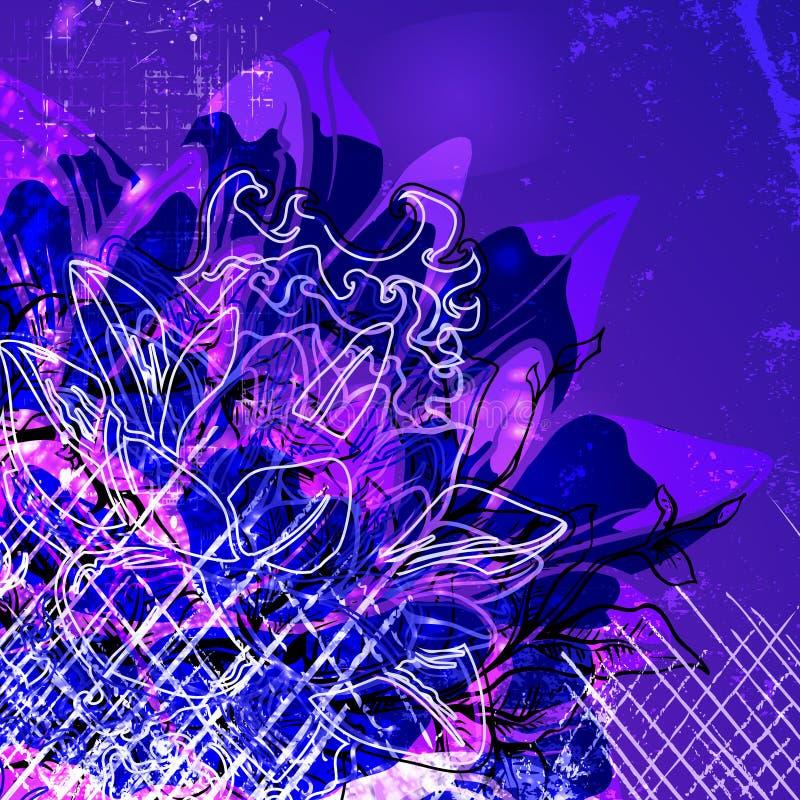 Textura abstrata floral e elementos sujos do projeto em um fundo do grunge ilustração stock