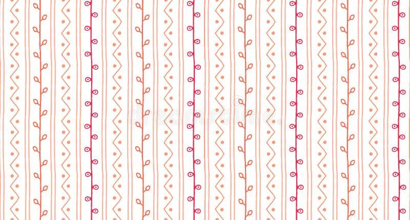 Textura abstrata tirada mão do ramo da mola Teste padrão sem emenda do vetor do esboço Linhas e ziguezagues dos galhos com círcul ilustração royalty free