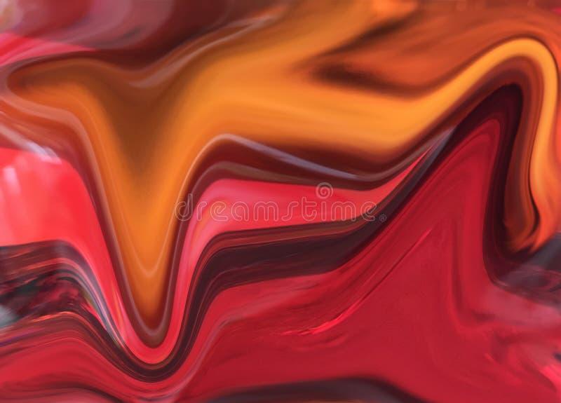 Textura acrílica do teste padrão misturado vermelho do fundo da pintura ilustração stock