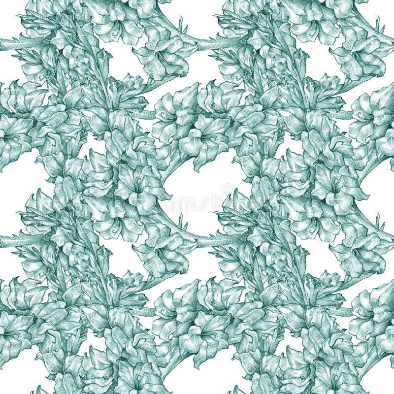 Textura adornada inconsútil azul floral botánica del modelo del dibujo de lápiz de la flor para las invitaciones o los announceme libre illustration