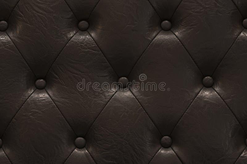 A textura altamente detalhada do vintage preto acolchoou o pano de couro fotografia de stock royalty free