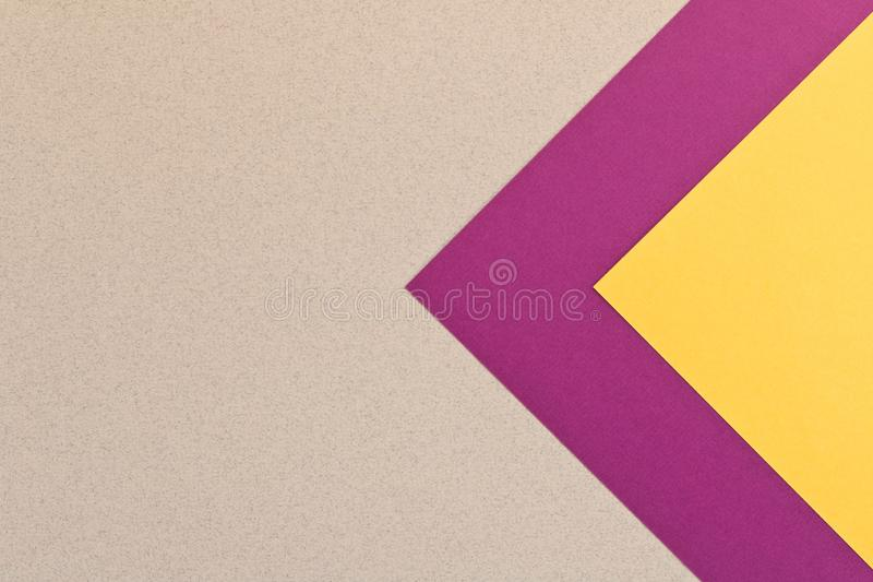 Textura amarela cinzenta roxa do fundo do papel colorido C na moda imagens de stock