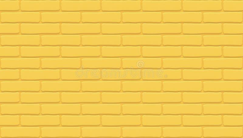 Textura amarela da parede de tijolo Fundo vazio O vintage obstr?i-se Interior do projeto da sala Contexto para o caf? ilustração stock