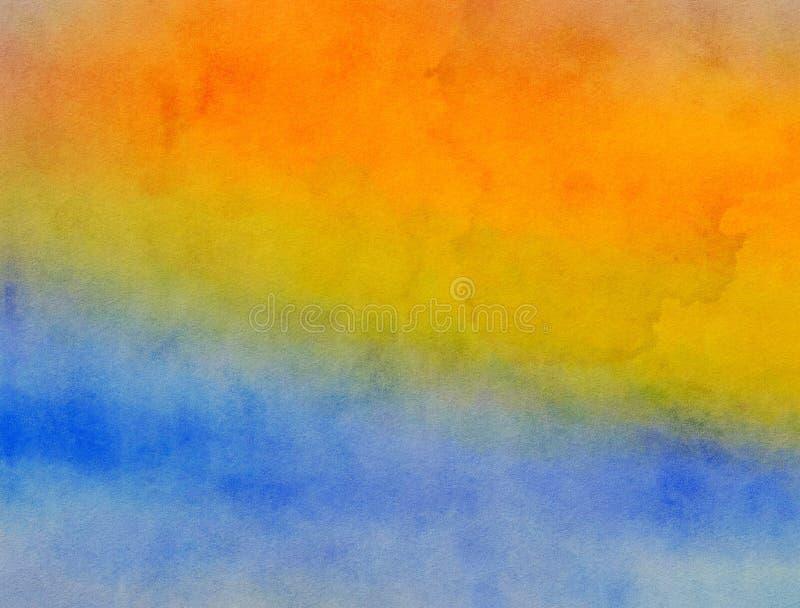 Textura amarela e azul misturada da pintura da aquarela ilustração stock