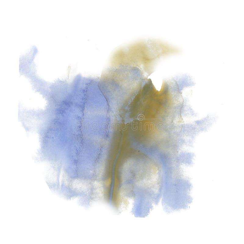 Textura amarilla azul de la mancha del punto macro líquido de la acuarela del tinte del watercolour de la salpicadura de la tinta ilustración del vector