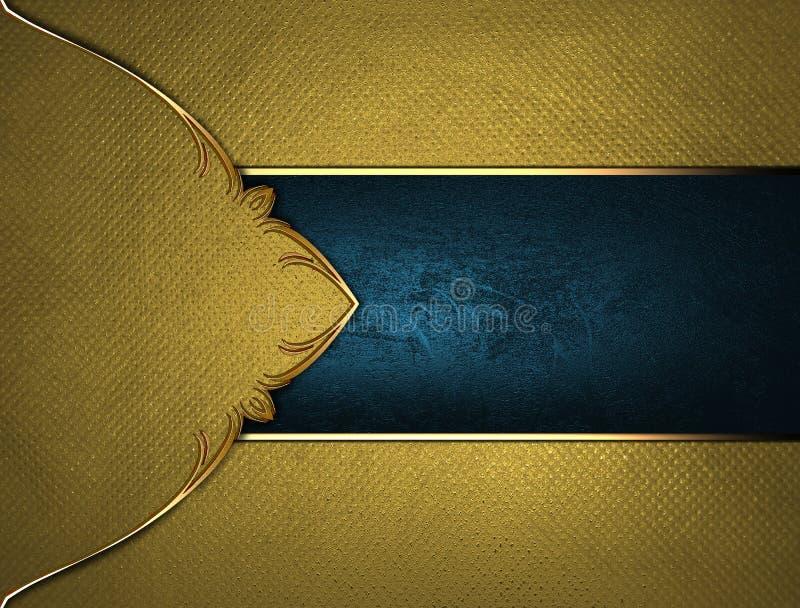 Textura amarilla con una muestra azul Plantilla para el diseño copie el espacio para el folleto o la invitación del aviso, fondo  stock de ilustración