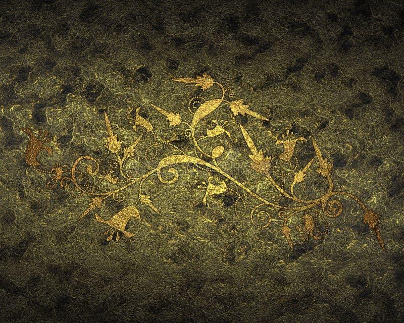 Textura amarilla oscura con el modelo del oro Elemento para el diseño Plantilla para el diseño stock de ilustración