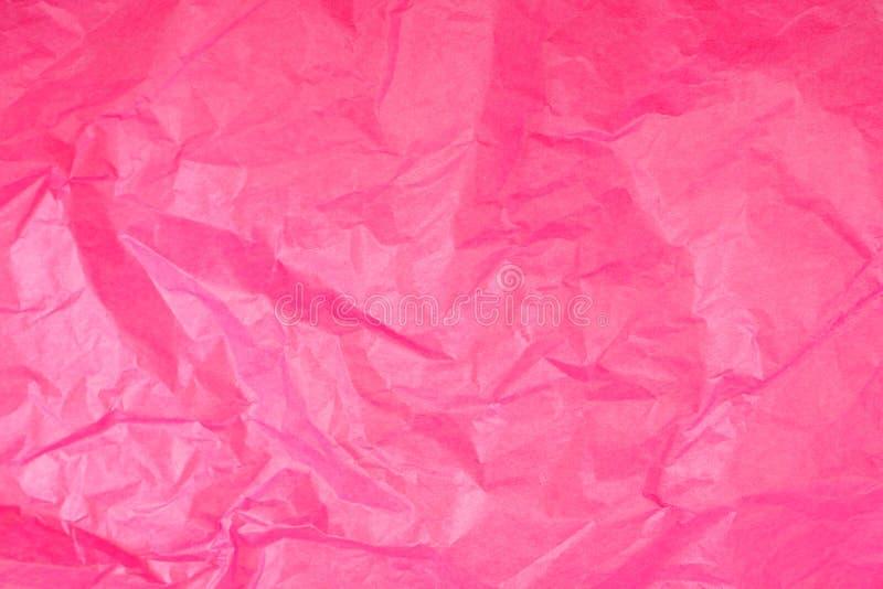 Textura amarrotada cor-de-rosa do lenço de papel imagens de stock