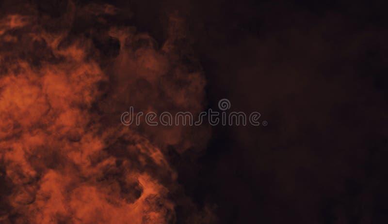 Textura anaranjada abstracta del humo El misterio sobrepone el fondo fotografía de archivo