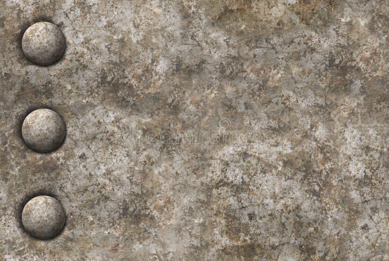 Textura apenada de la superficie de metal con una fila de los remaches t inconsútil ilustración del vector