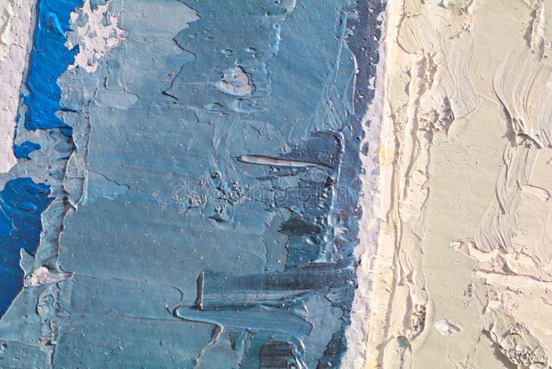 Textura ascendente cercana de la pintura al óleo con los movimientos del cepillo imagen de archivo