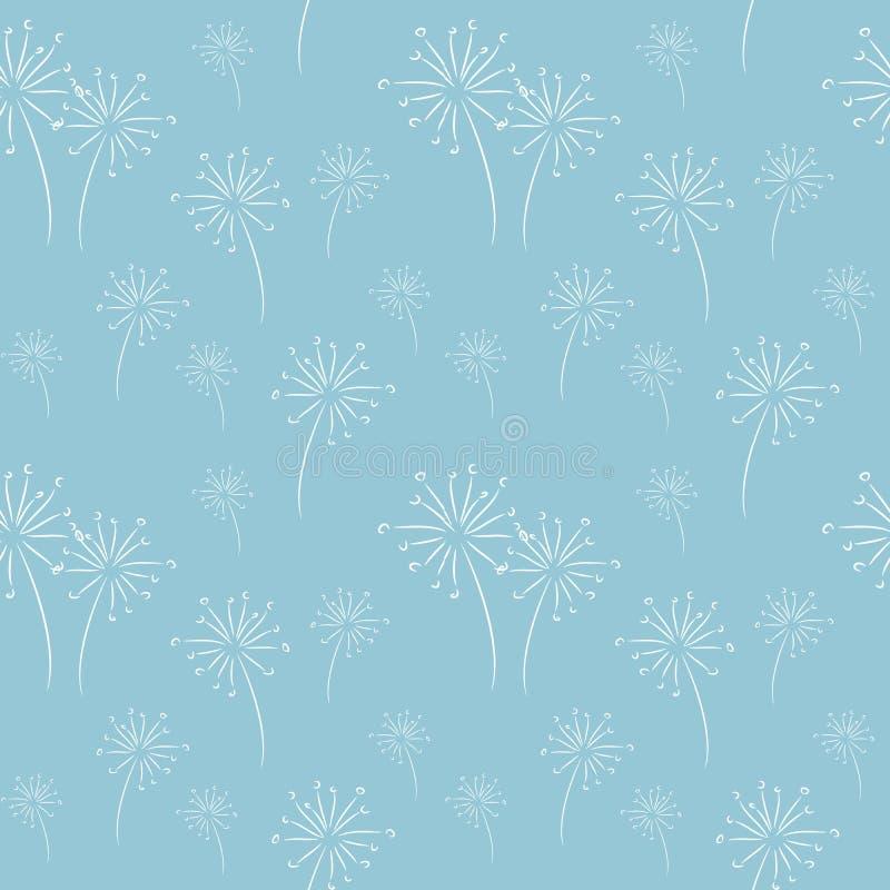 Textura azul clara con la decoración floral stock de ilustración