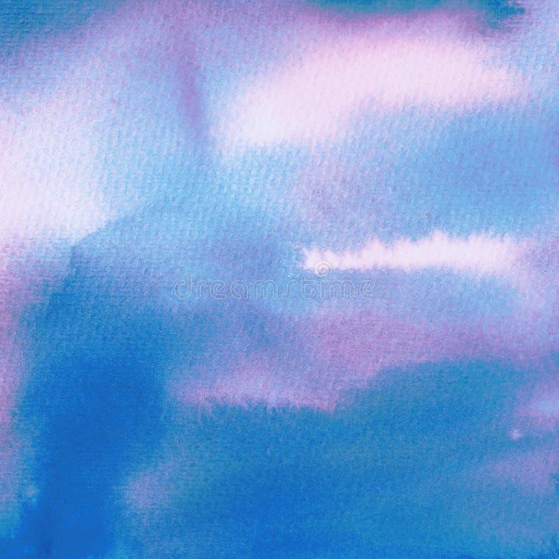Textura azul clara y rosada delicada de la tinta y del lavado de la acuarela Pintado a mano en el papel de la acuarela ilustración del vector