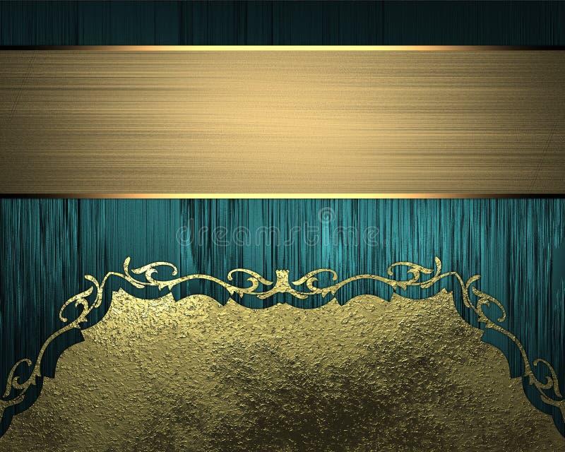 Textura azul con los ornamentos del oro y la cinta del oro Elemento para el diseño Plantilla para el diseño copie el espacio para stock de ilustración