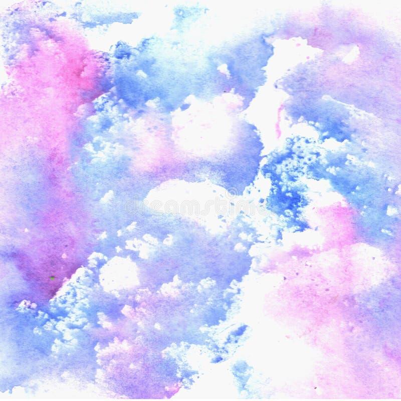 Textura azul da aquarela com pontos violetas ilustração royalty free