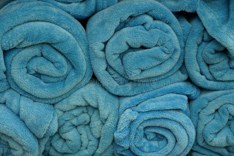 Textura azul da tela de um rolo das coberturas fotografia de stock