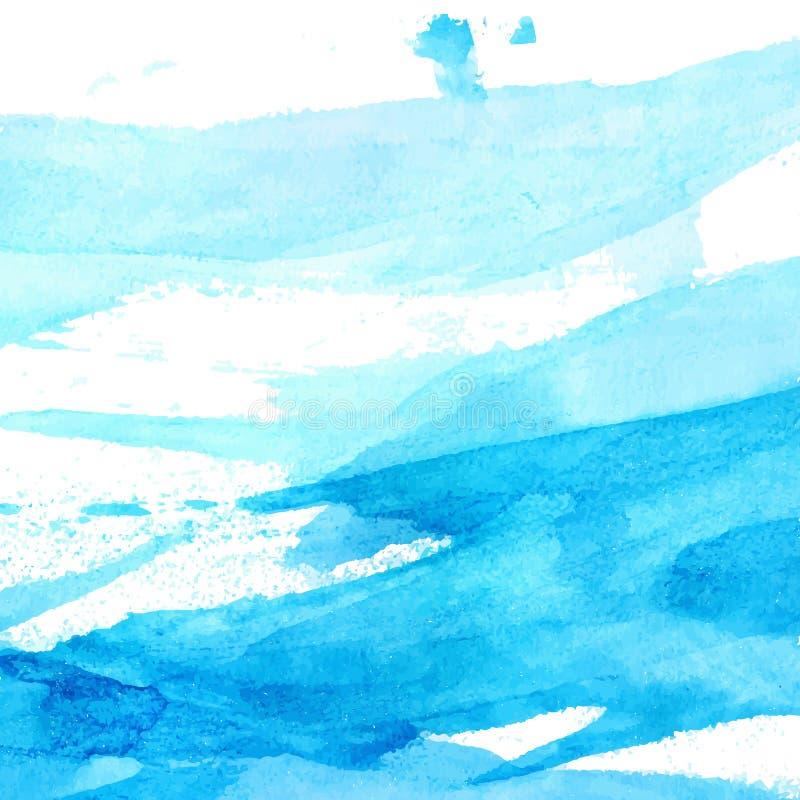 Textura azul de la acuarela con los movimientos del cepillo y ilustración del vector
