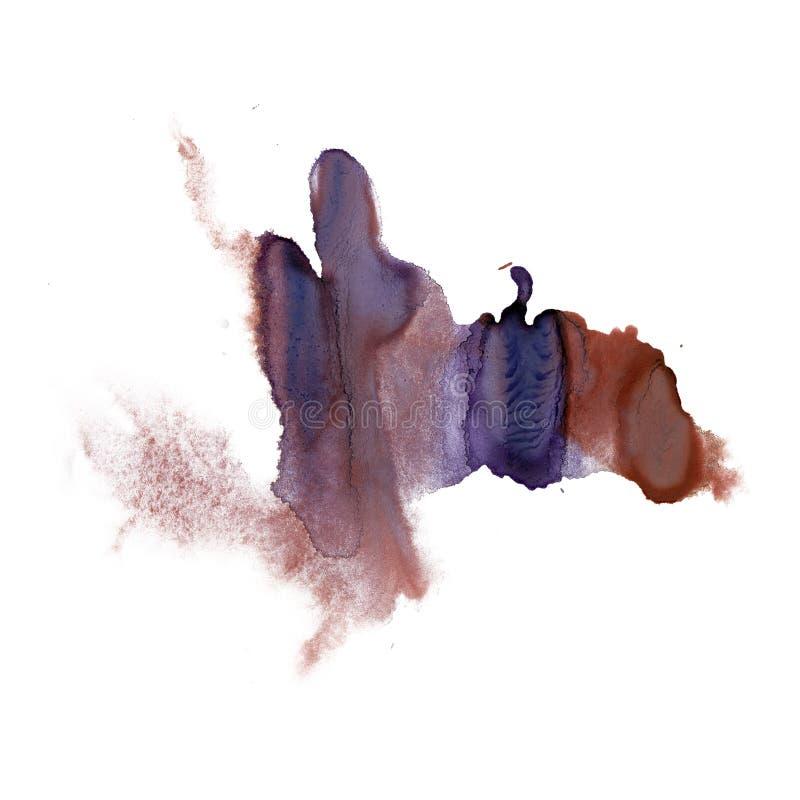 Textura azul de la mancha de la acuarela del tinte del watercolour de la salpicadura de la tinta del marrón macro líquido del pun stock de ilustración