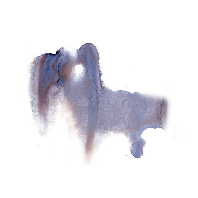 Textura azul de la mancha de la acuarela del tinte del watercolour de la salpicadura de la tinta del marrón macro líquido del pun ilustración del vector