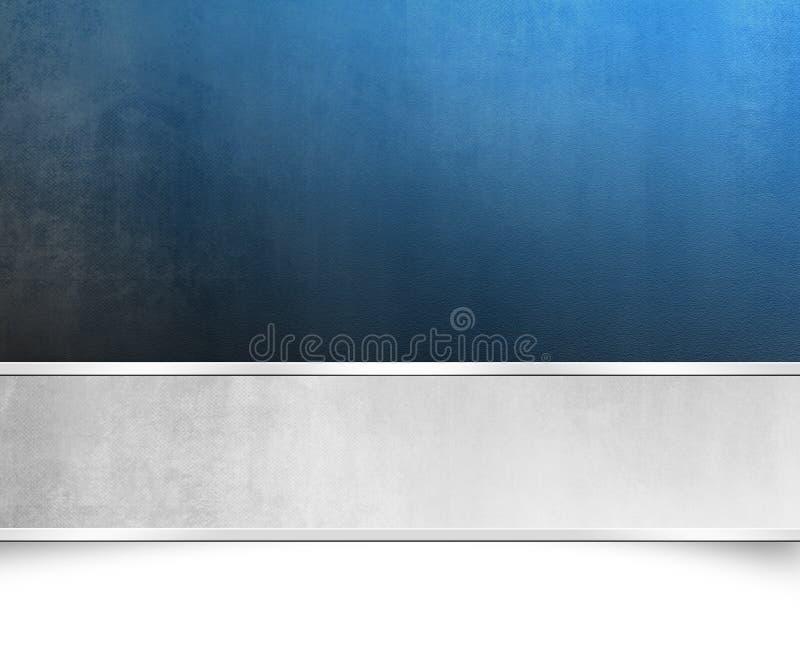 Textura azul del fondo con la bandera de plata - plantilla de la Navidad libre illustration