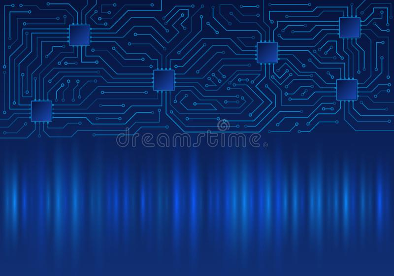 Textura azul del fondo de la tecnolog?a de alta tecnolog?a Modelo mínimo de la placa de circuito ilustración del vector